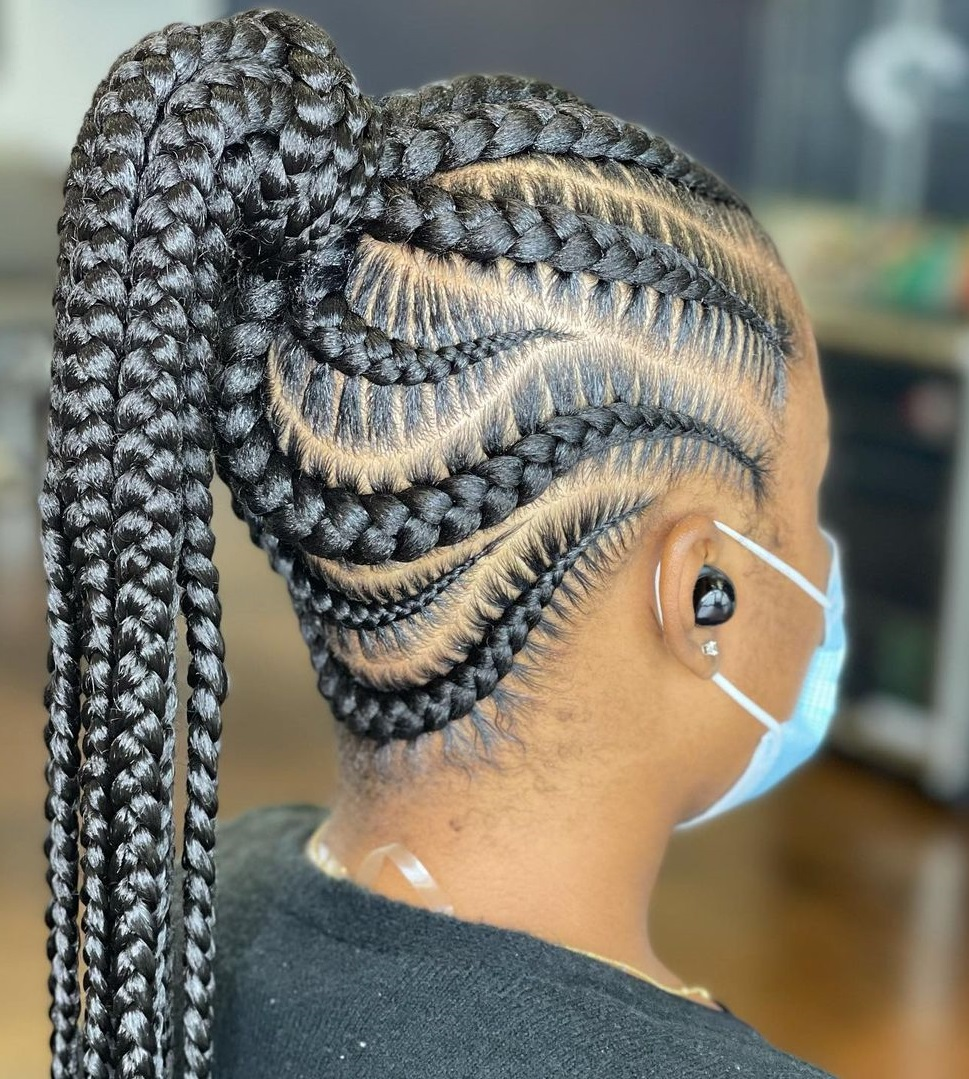 Protective Cornrow Ponytail Hairstyle