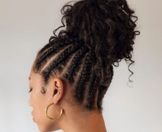 Scalp Braids to a Curly Bun
