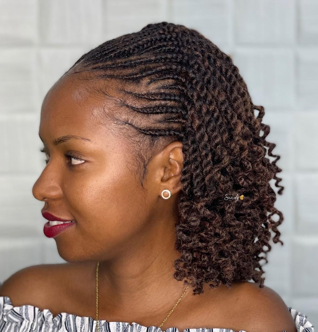 Short Cornrow Hairstyle with Curly Ends