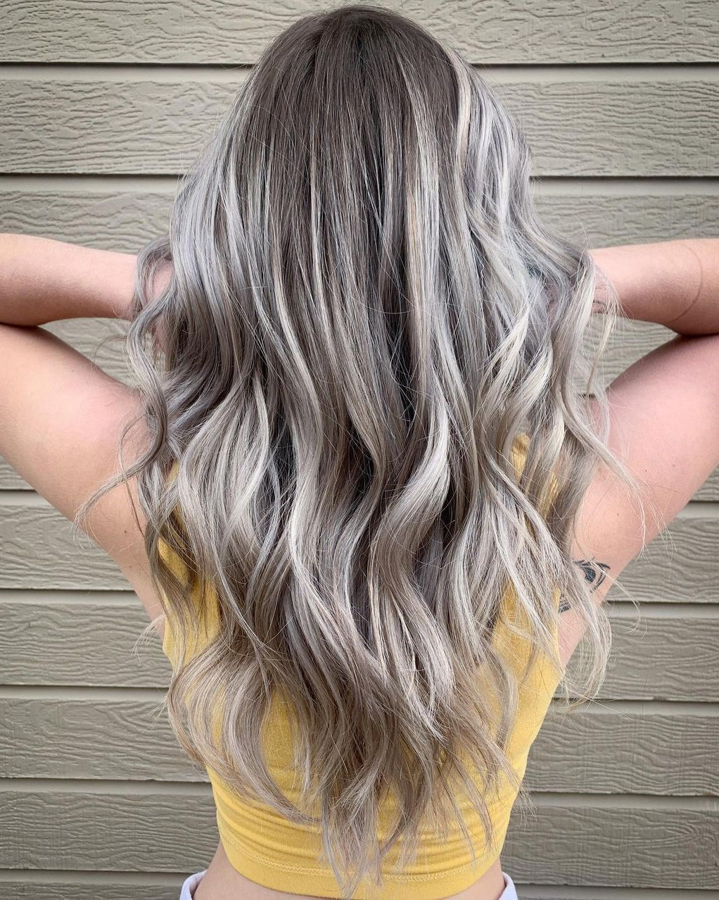 Trendy Brown Hair with Silver Balayage