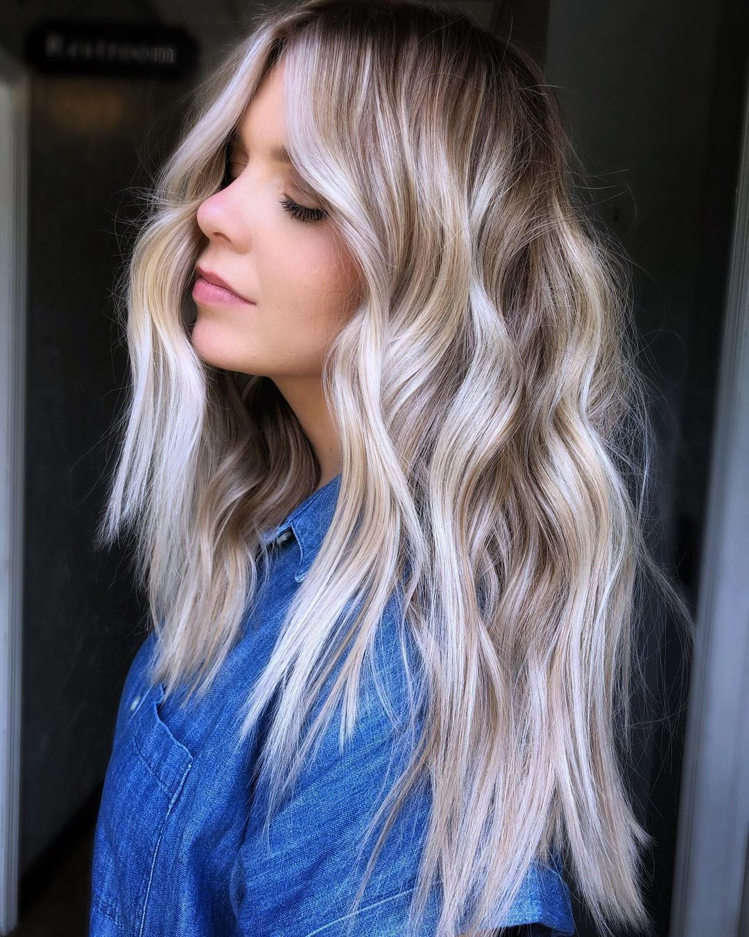 Platinum Balayage with Darker Roots