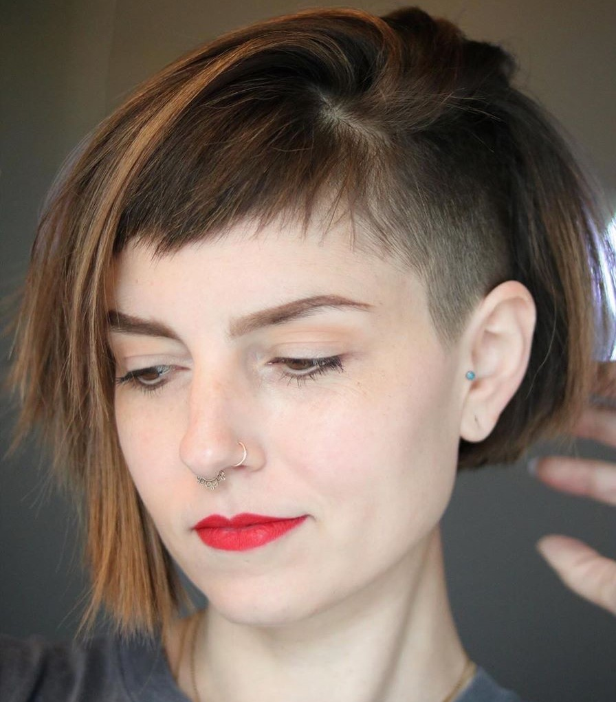 Asymmetrical Shaved Hairstyle with Micro Bangs