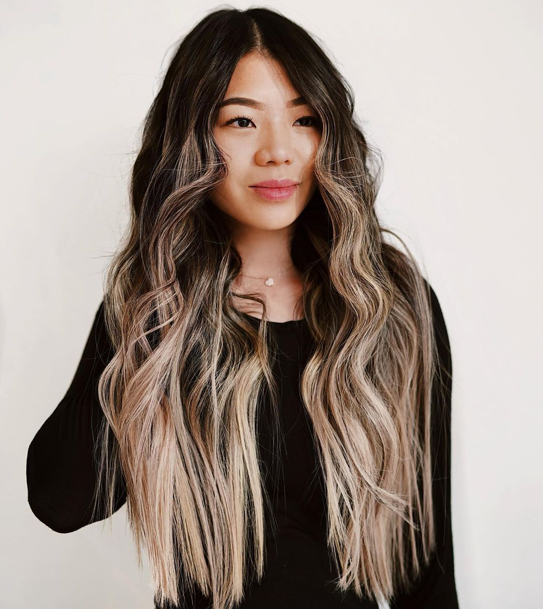 Long Dark Hair with Rose Gold Highlights