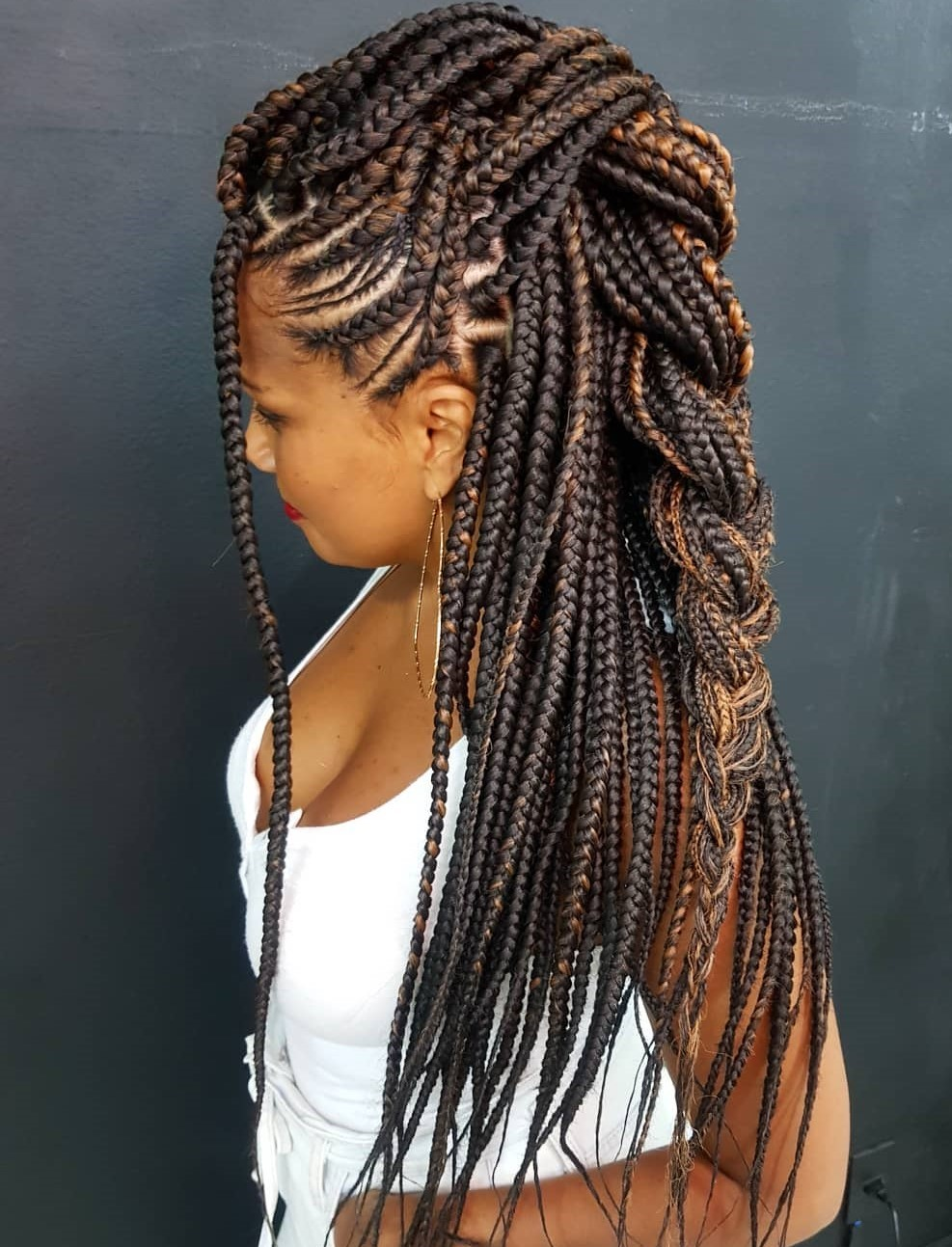 Half-Up Braid for Box Braids