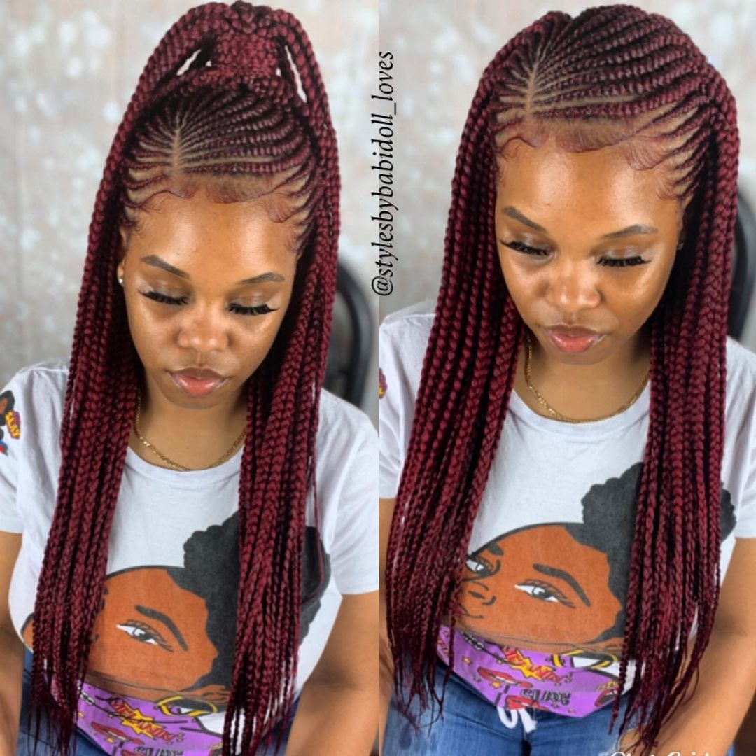 Burgundy Braids with a Side Part