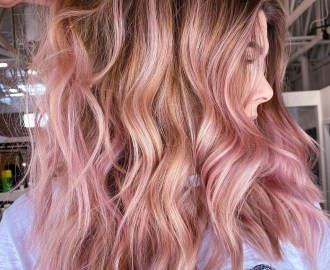 Partial Light Peach Pink Highlights