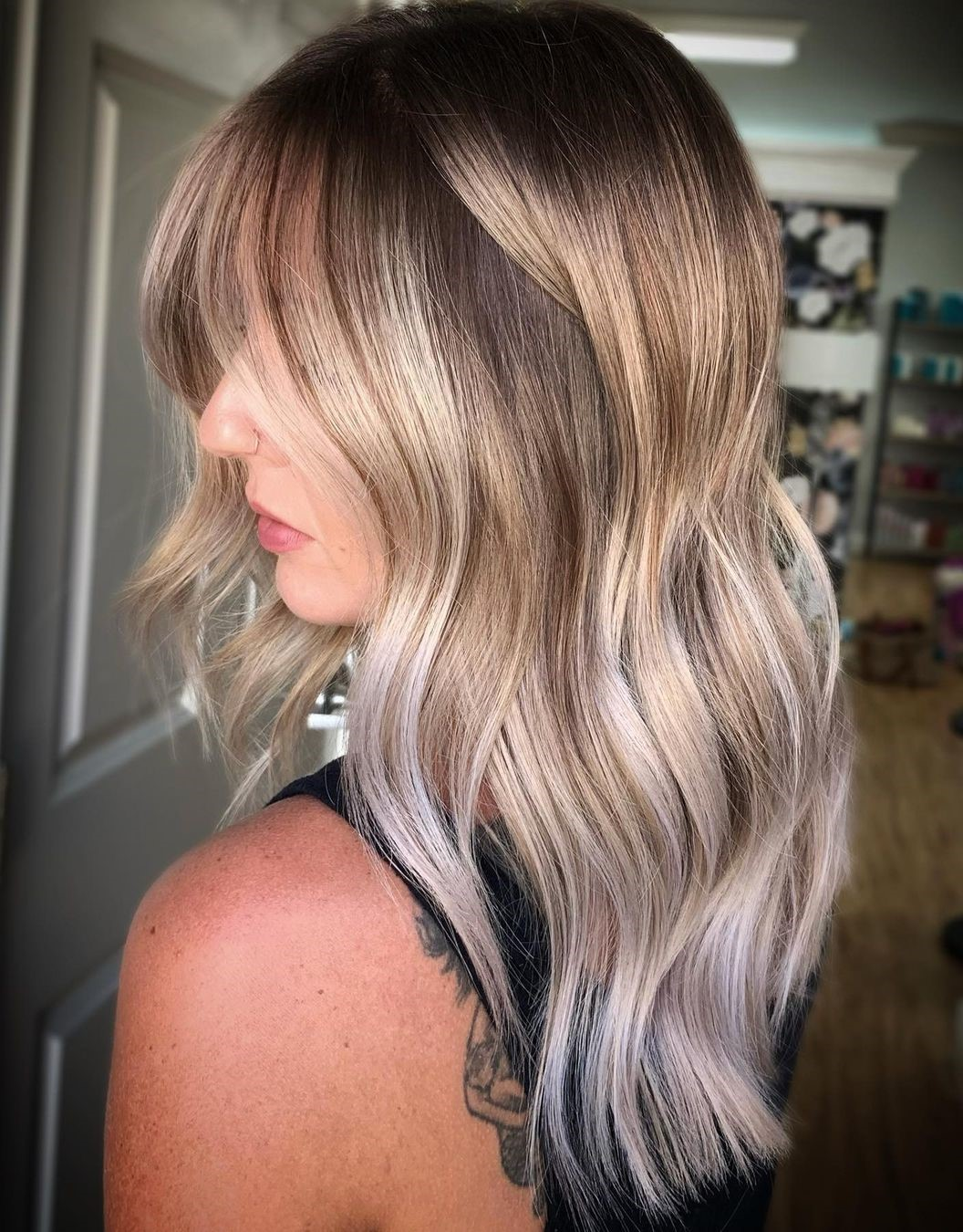 Bronde Hair with Platinum and White Highlights