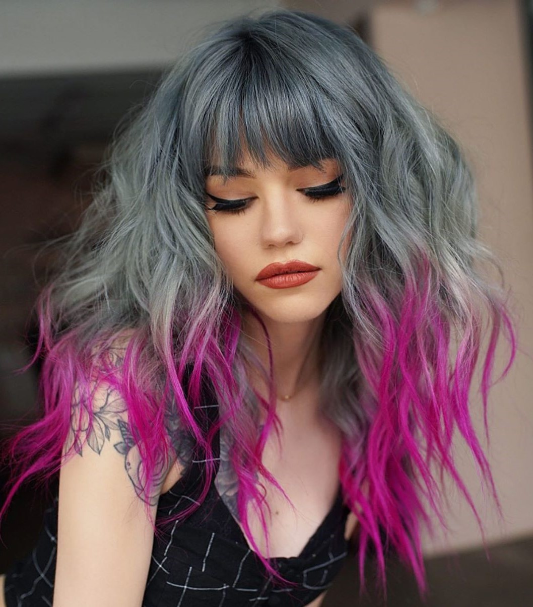 Fun Bright Pink Dip Dye Hairstyle