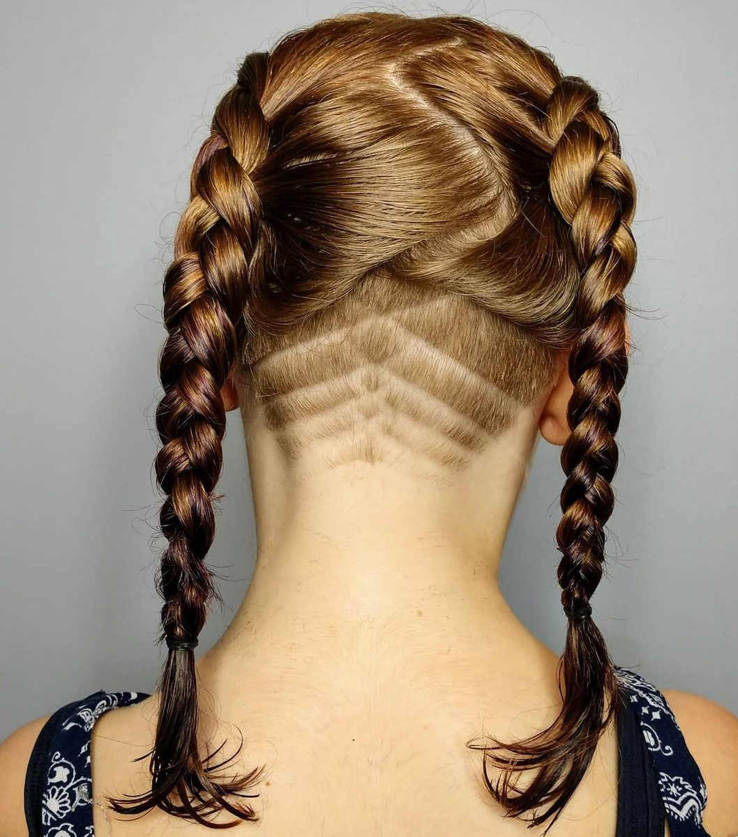Hairstyle with Braids and Shaved Nape