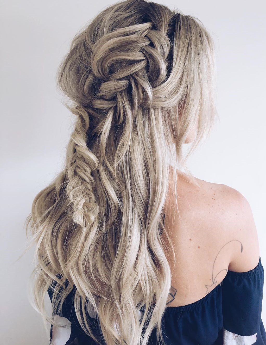 Braided Half Up Hairstyle with Bangs