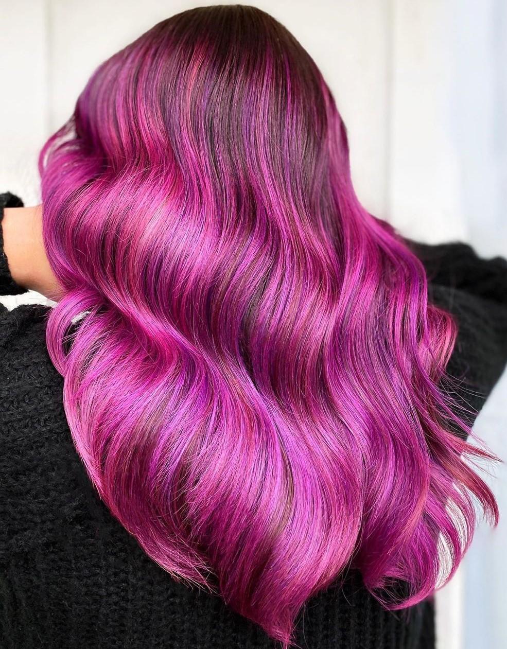 Dark Hair with Fuchsia Balayage