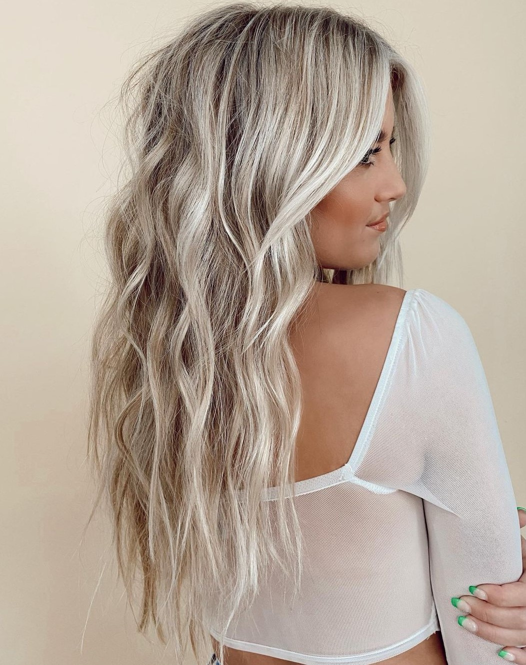 Long Wavy Platinum Blonde Hairstyle
