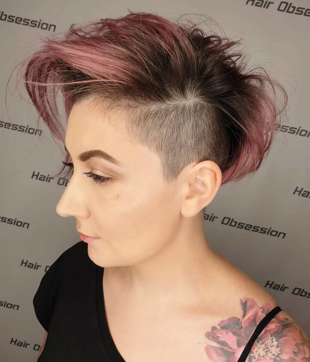 Short Female Shaved Sides Hairstyle