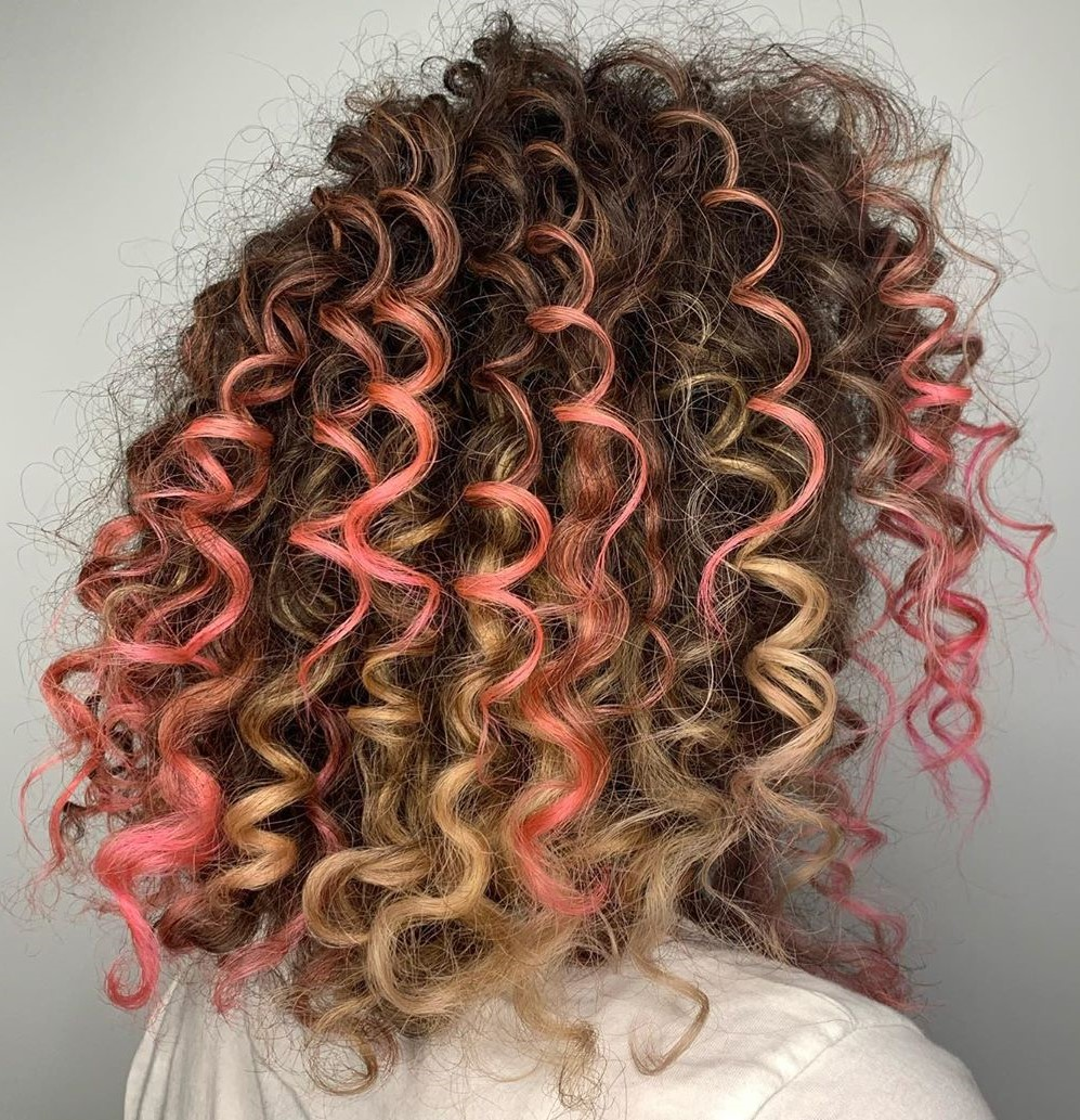 Brown Curly Hair with Pink Highlights