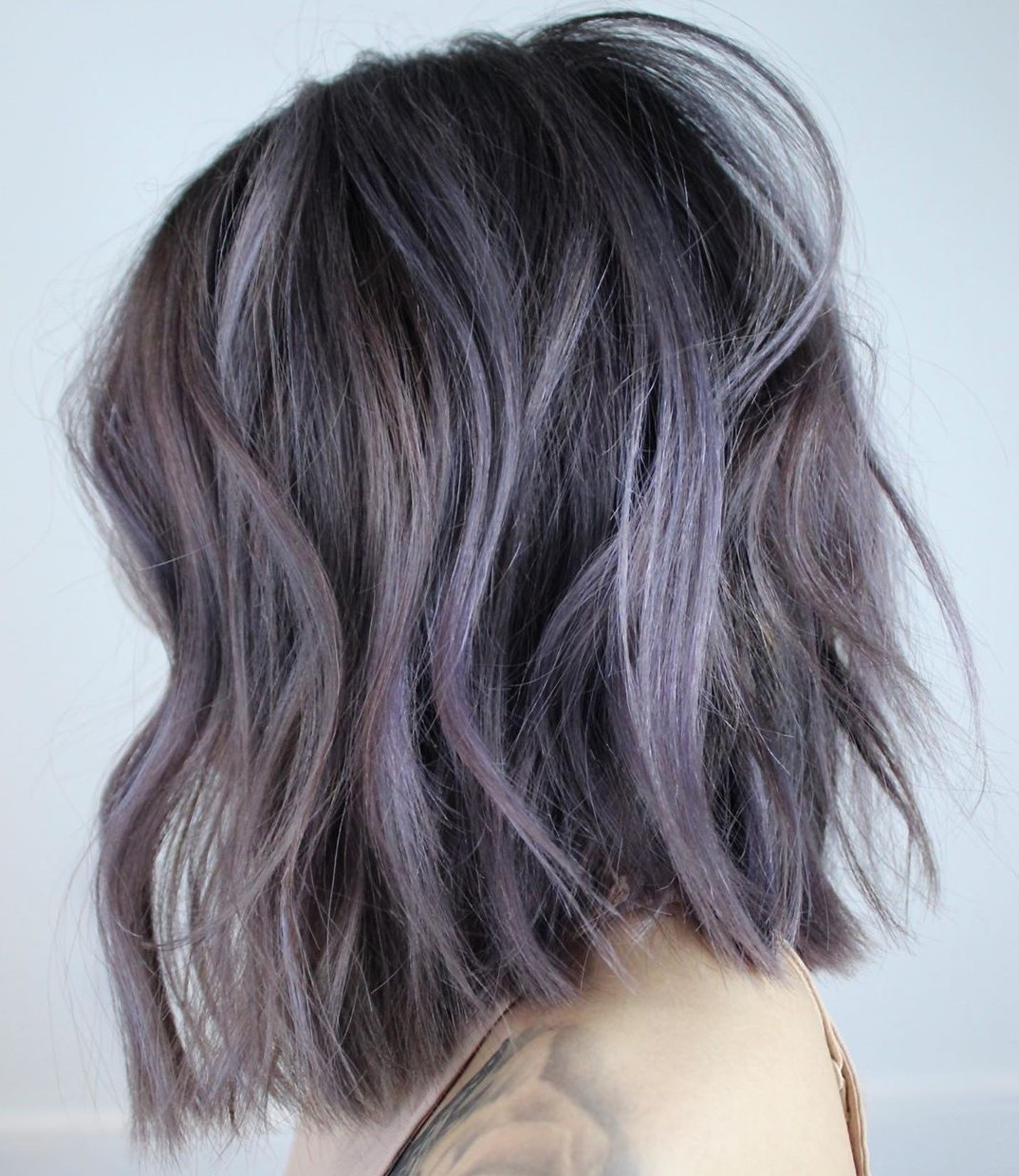 Black Bob with Lavender Highlights