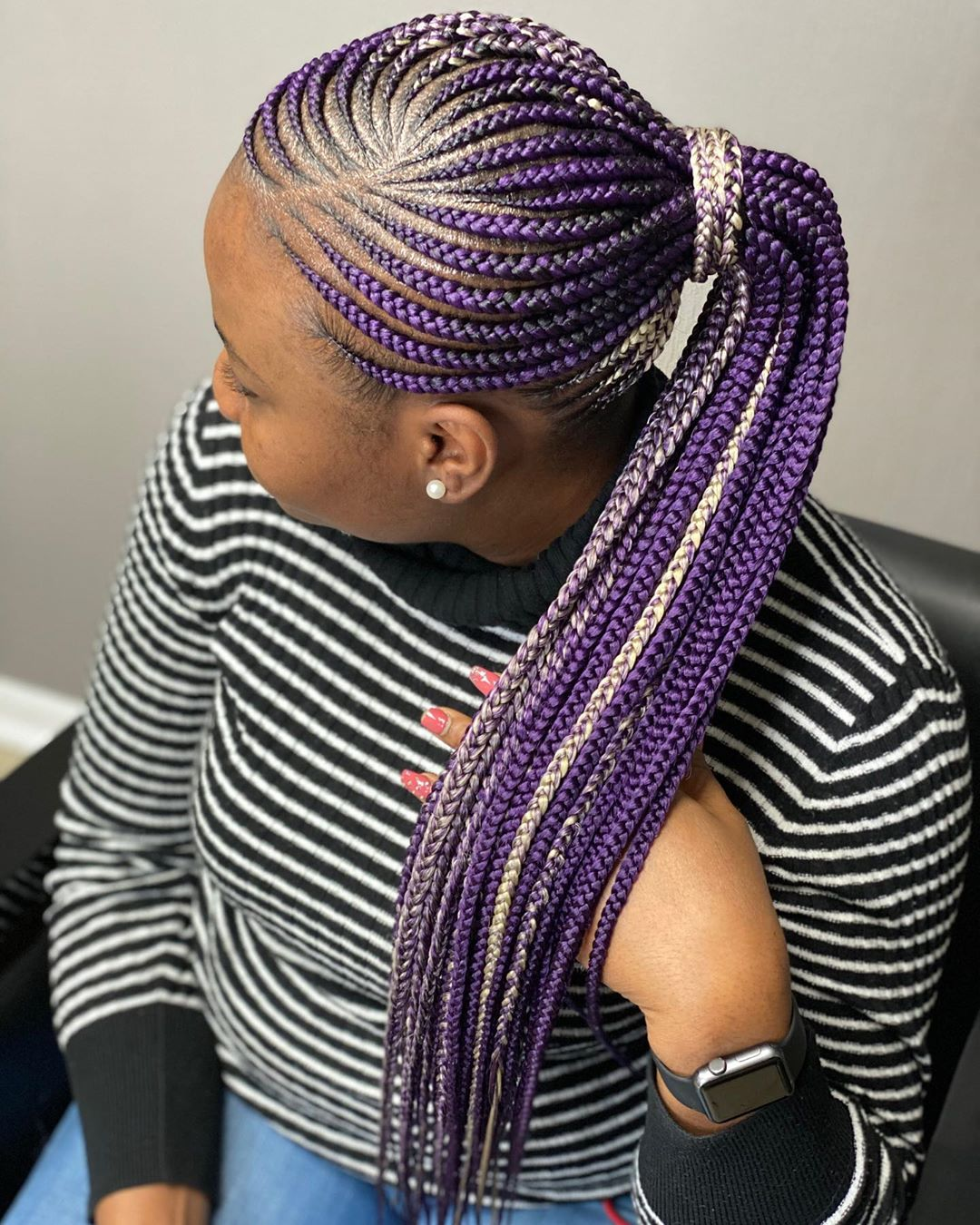 Colored Purple and White Lemonade Braids