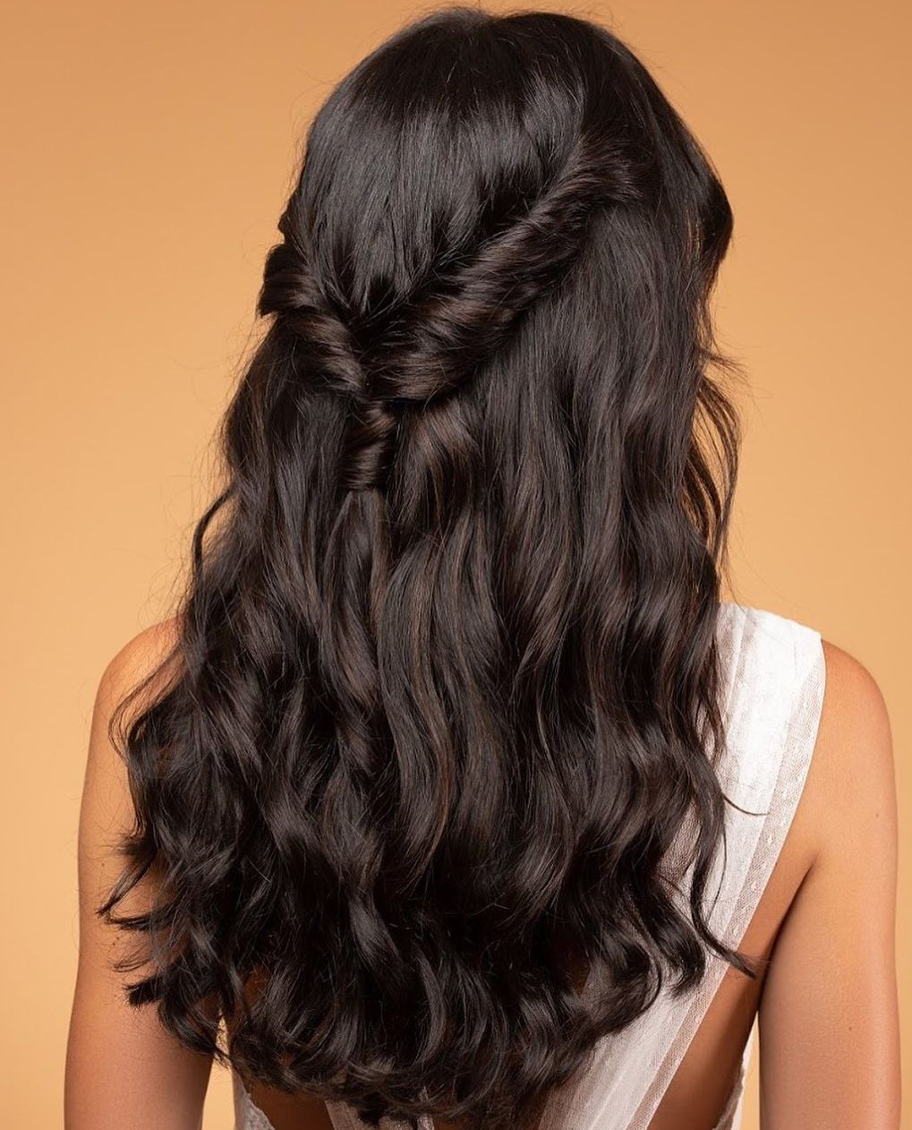 Half Up Half Down Curls with Twists and Pony