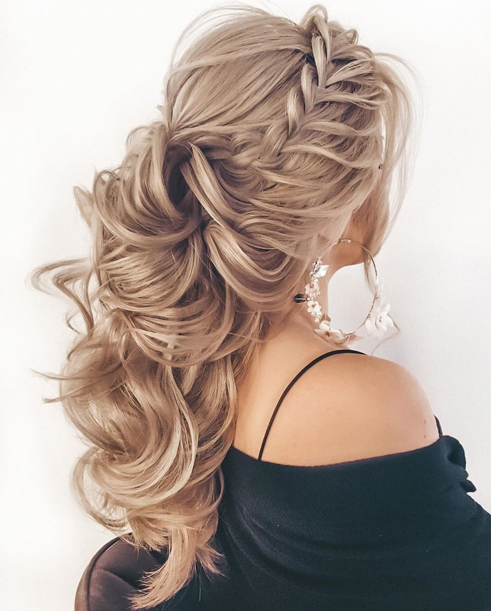 Curly Half Up Hairstyle with a Braid