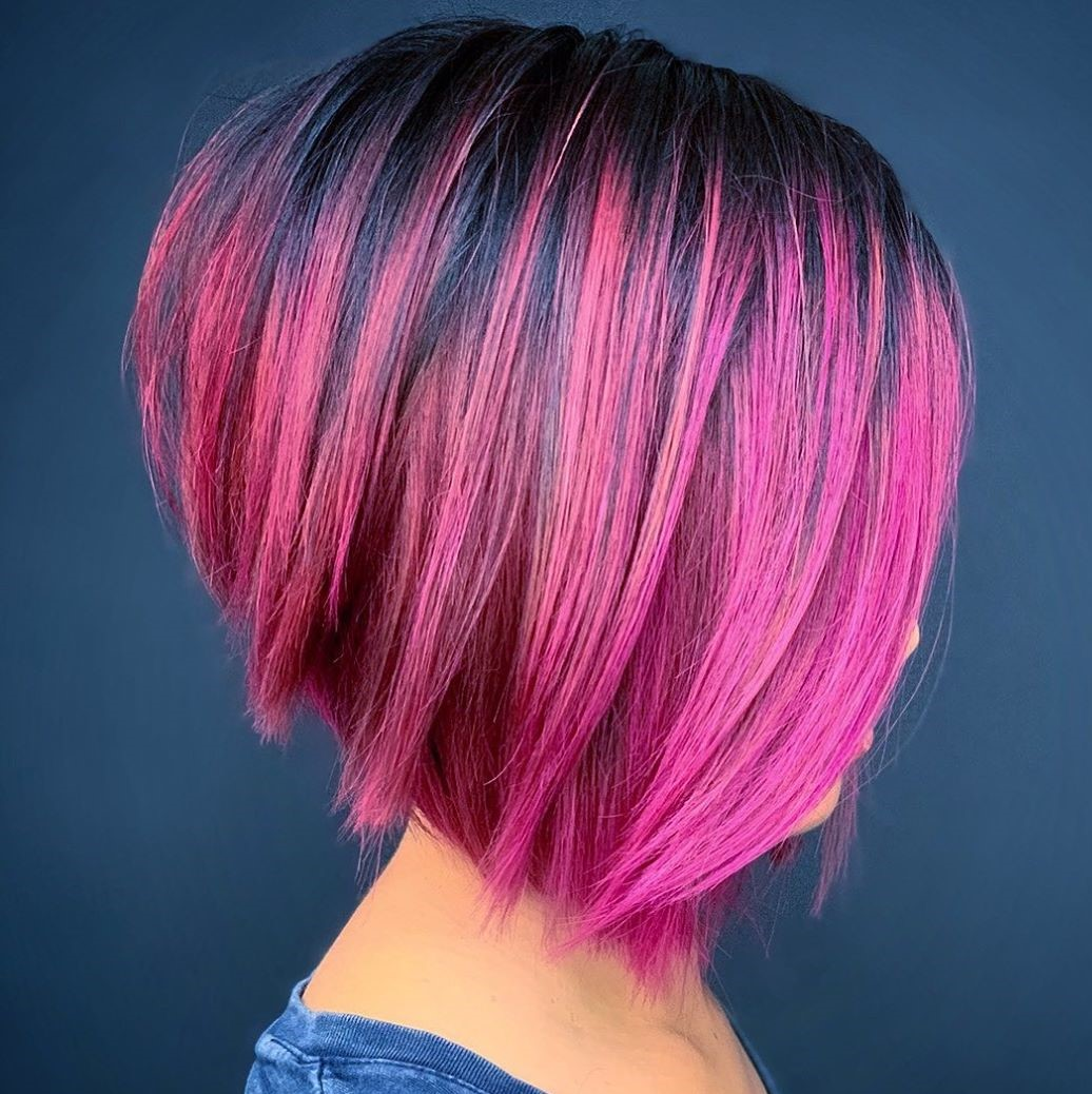 Short Angled Hot Pink Cut