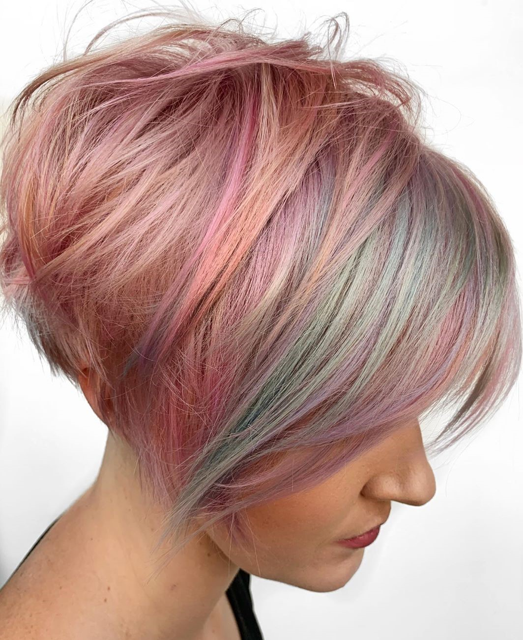 Pastel Pink and Blue Balayage