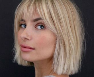 Straight Wispy Bob with Bangs