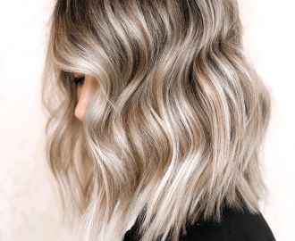 Silver Blonde Balayage with Black Roots