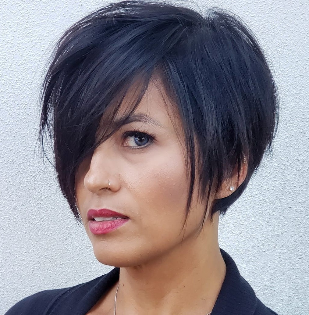 Asymmetric Pixie with Side Swept Bangs