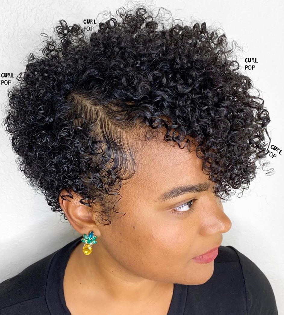 3C Curly Pixie Cut with a Side Part