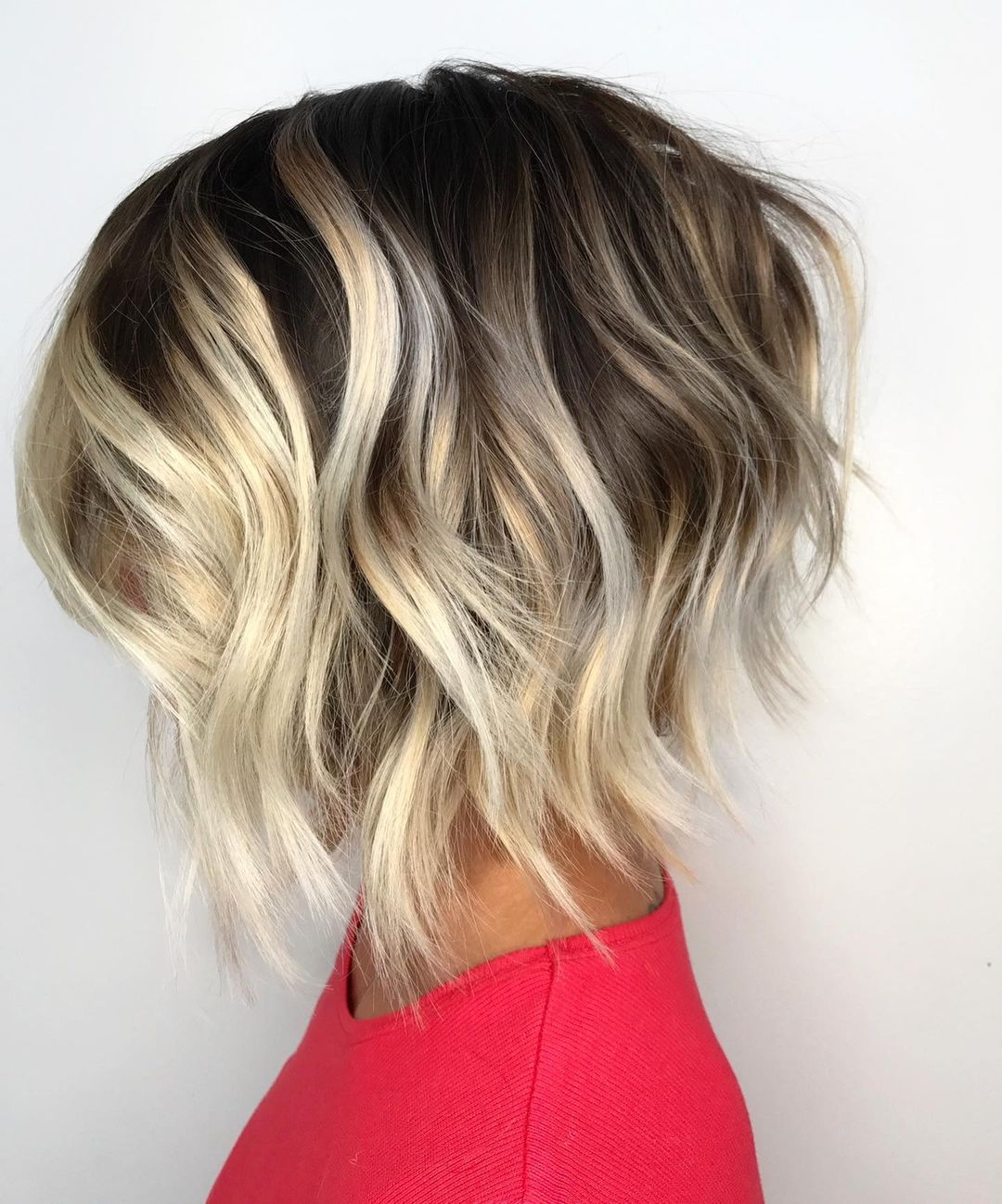 Messy Inverted Dirty Blonde Bob