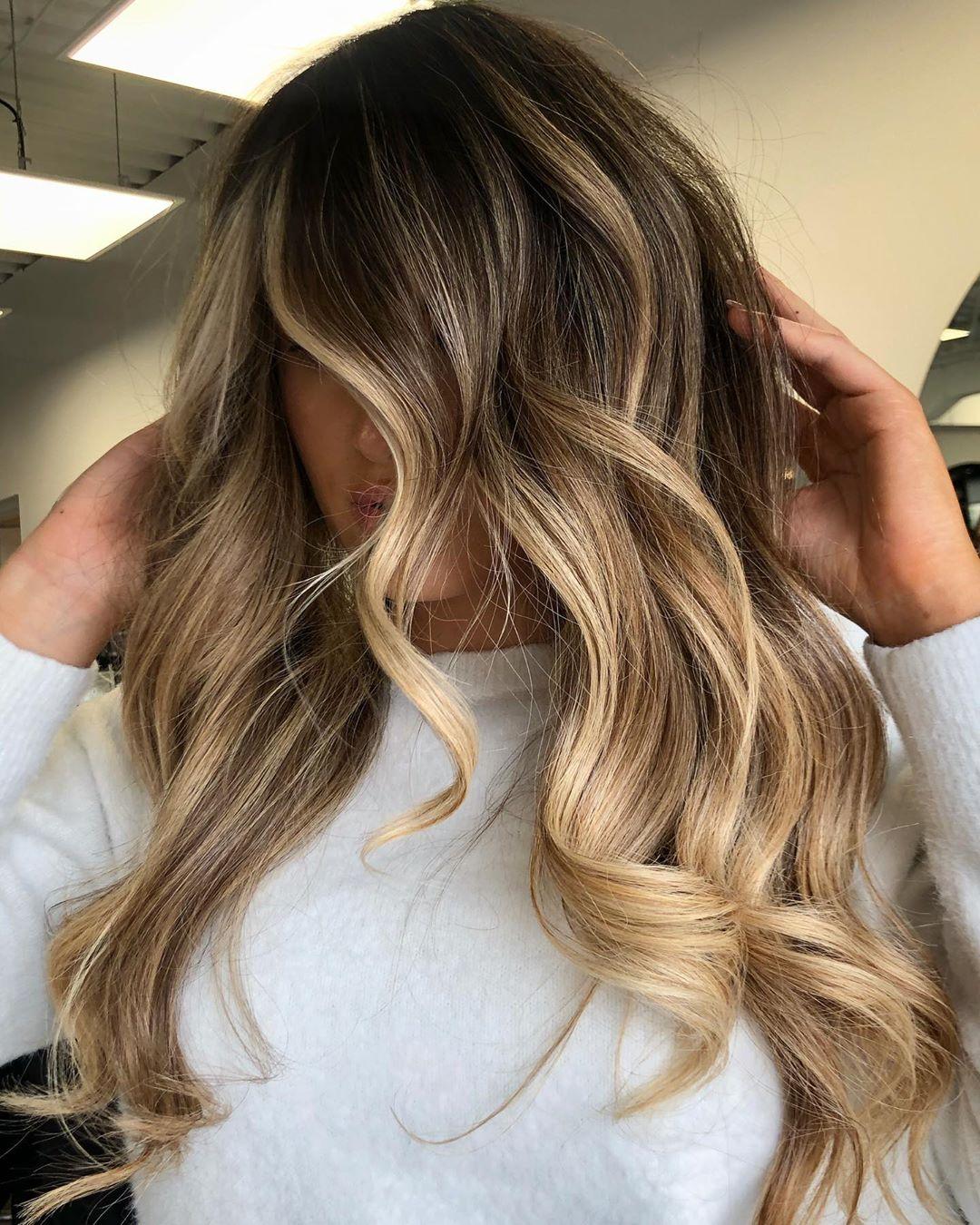 Golden Blonde Balayage for Dark Hair