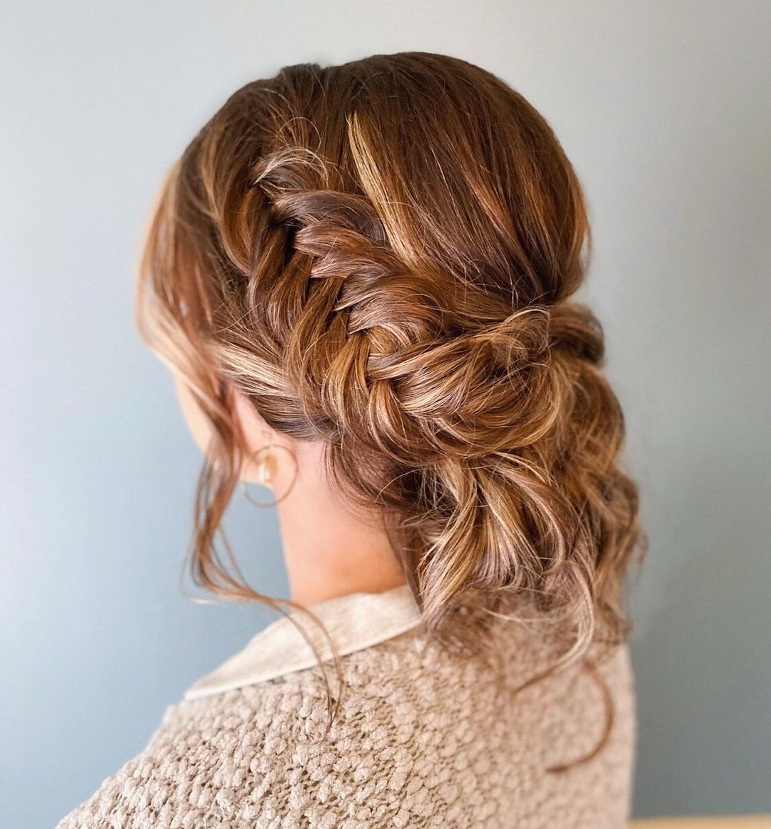 Cute Updo with a Braid for Long Hair