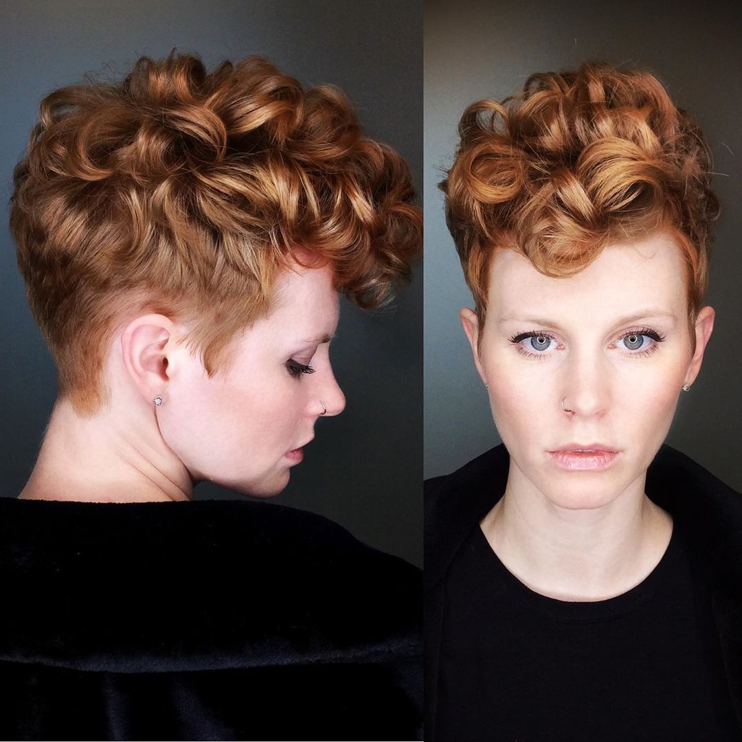 Tapered Curly Pixie for a Square Face