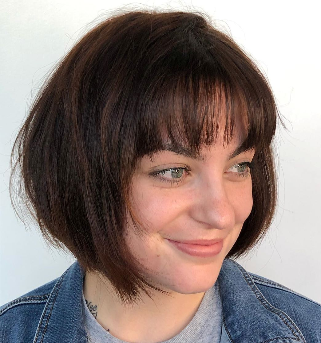 Stacked Angled Bob with Bangs
