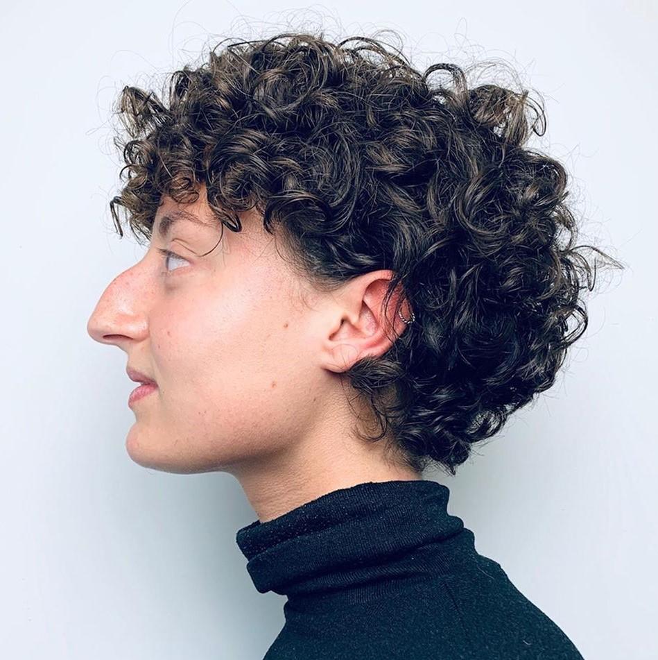Medium-Length Curly Pixie Cut