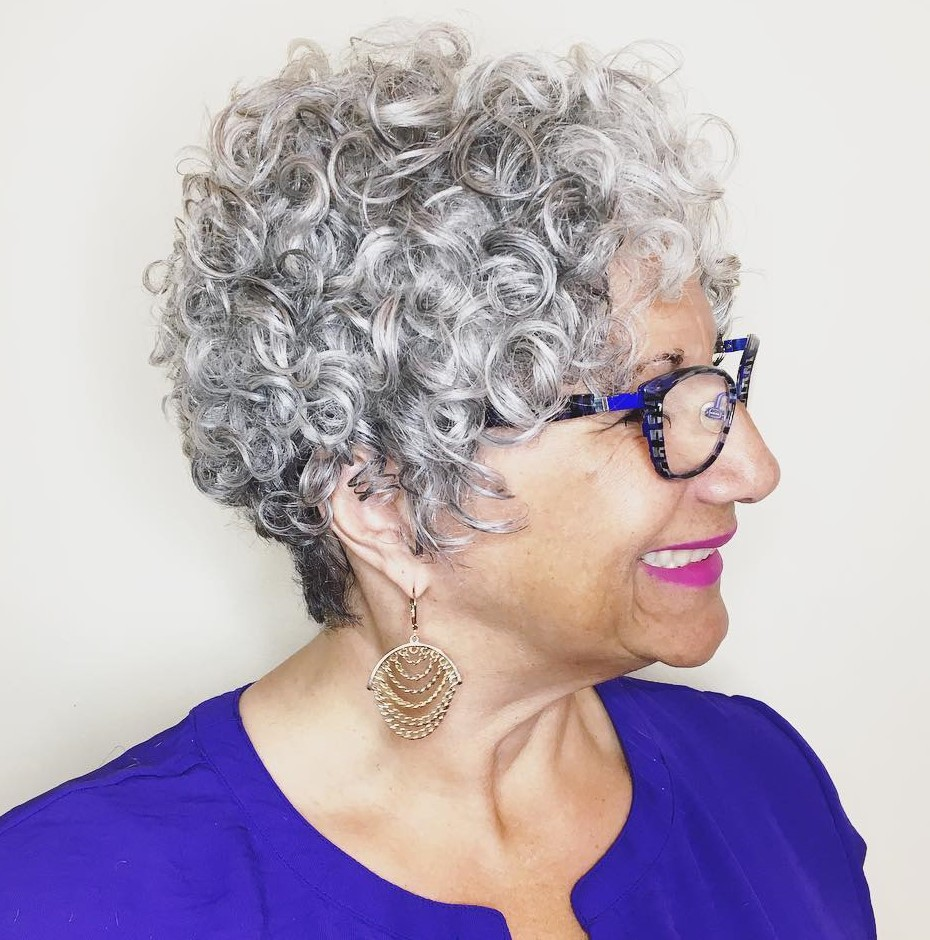 Over 50 Gray Curly Pixie Cut