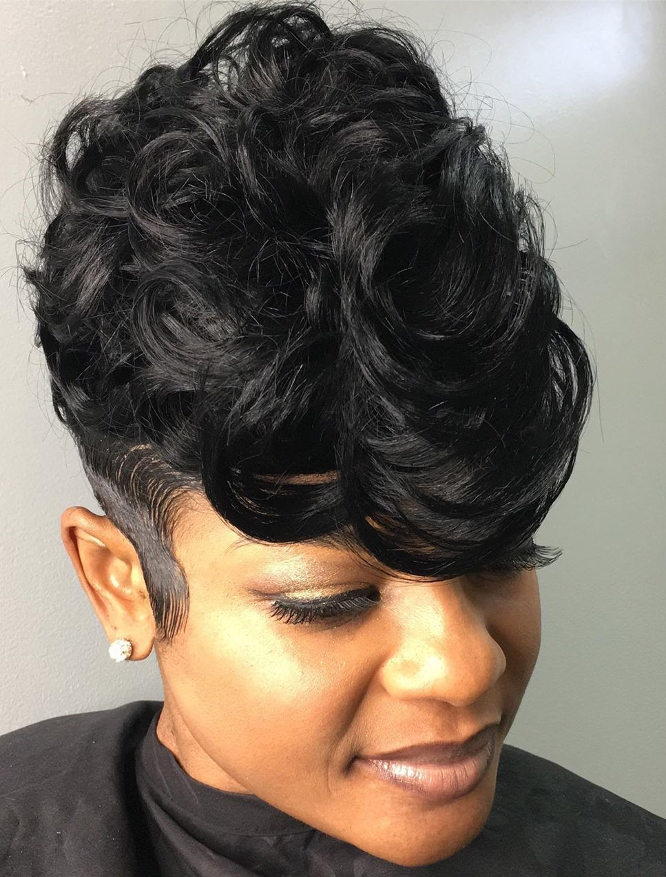 African American Undercut Pixie with Diva Curls