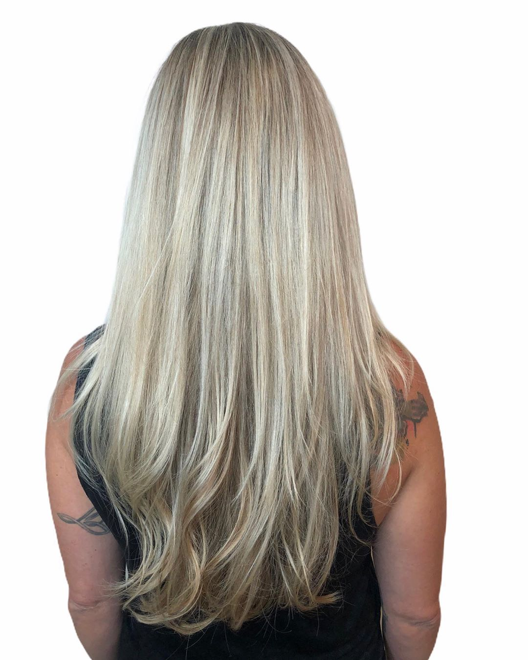 Ash Blonde Balayage on Straight Hair