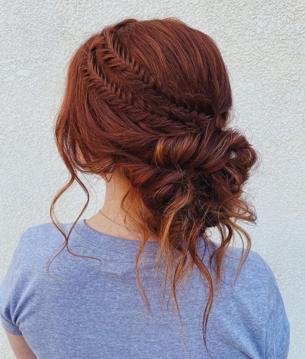 Messy Long Hair Updo with Side Braids