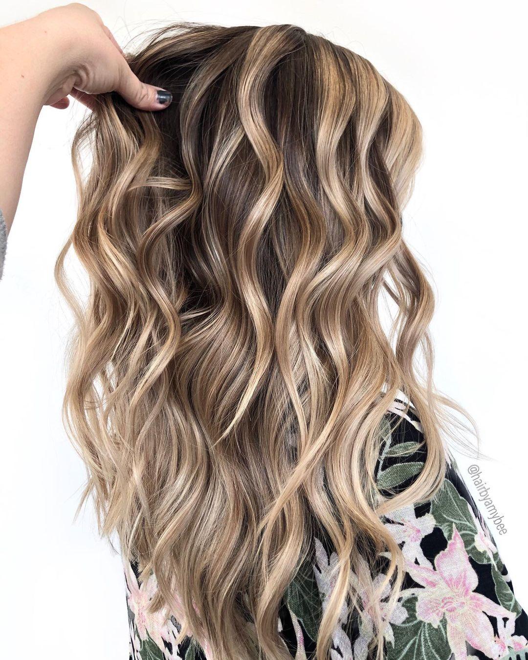 Curly Caramel Blonde Balayage Hair