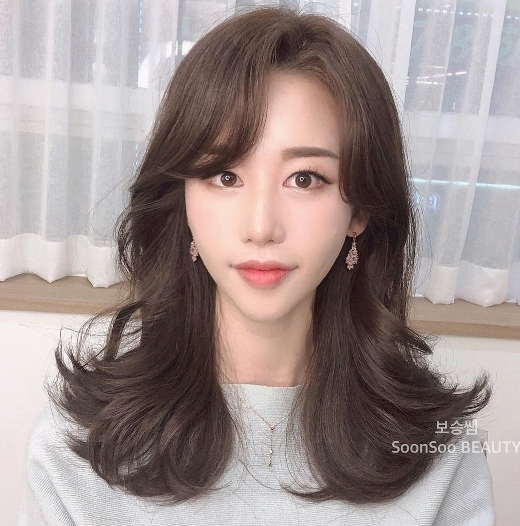 Long Hair with Korean Side Bangs