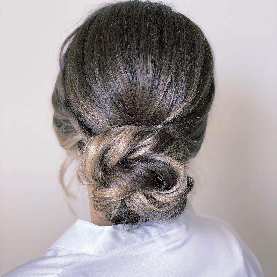 Low Twisted Bun Updo for Long Hair