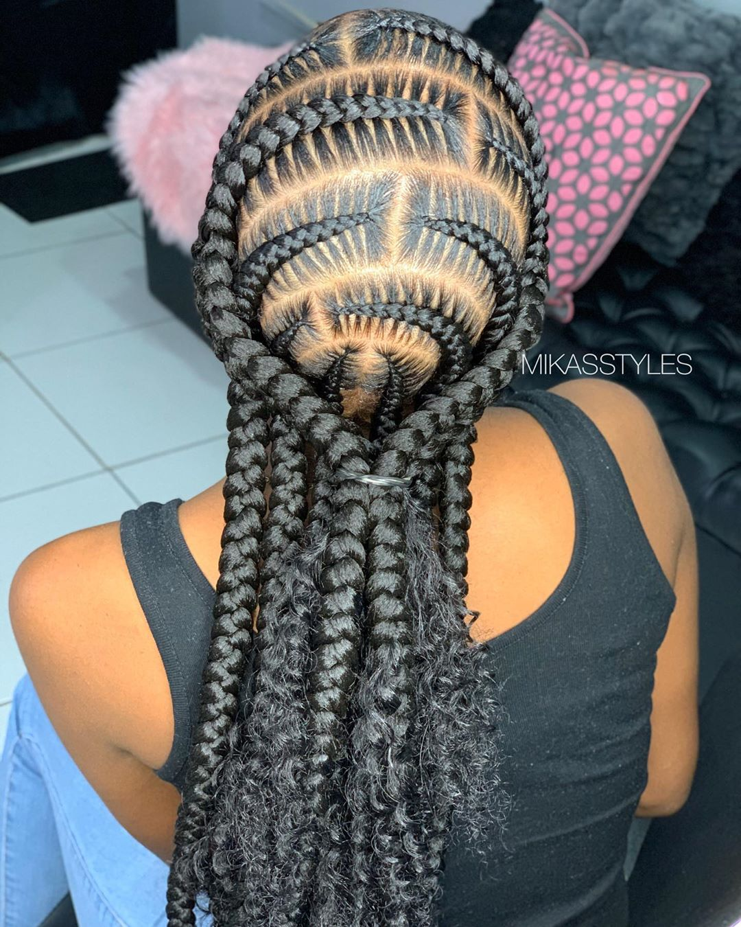 Circular Goddess Braids with Curly Ends