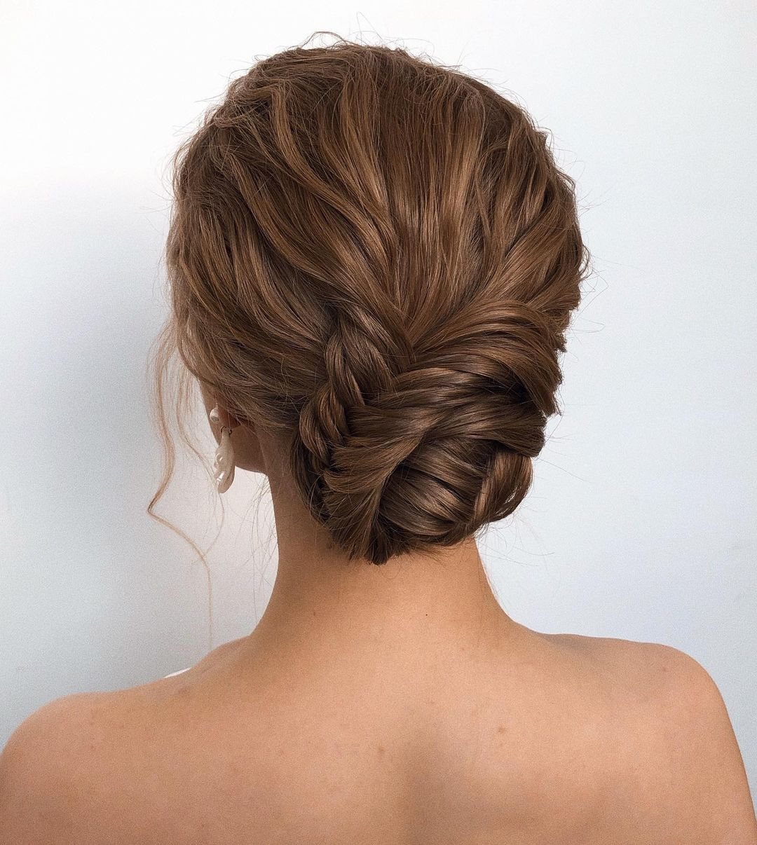 Low Bun with a Fishtail Braid