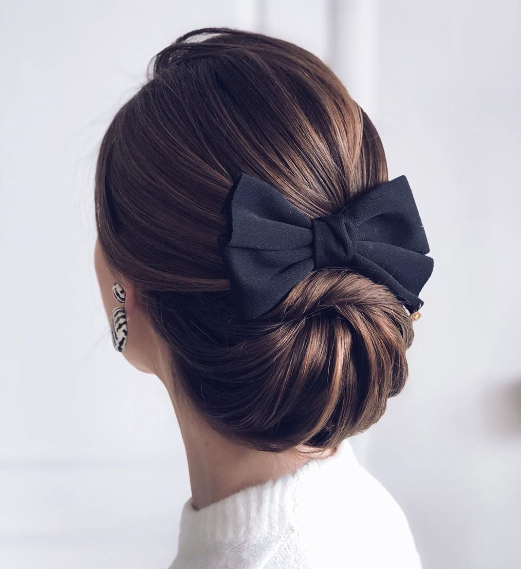 Classic Low Wrap Updo for Women with Long Hair