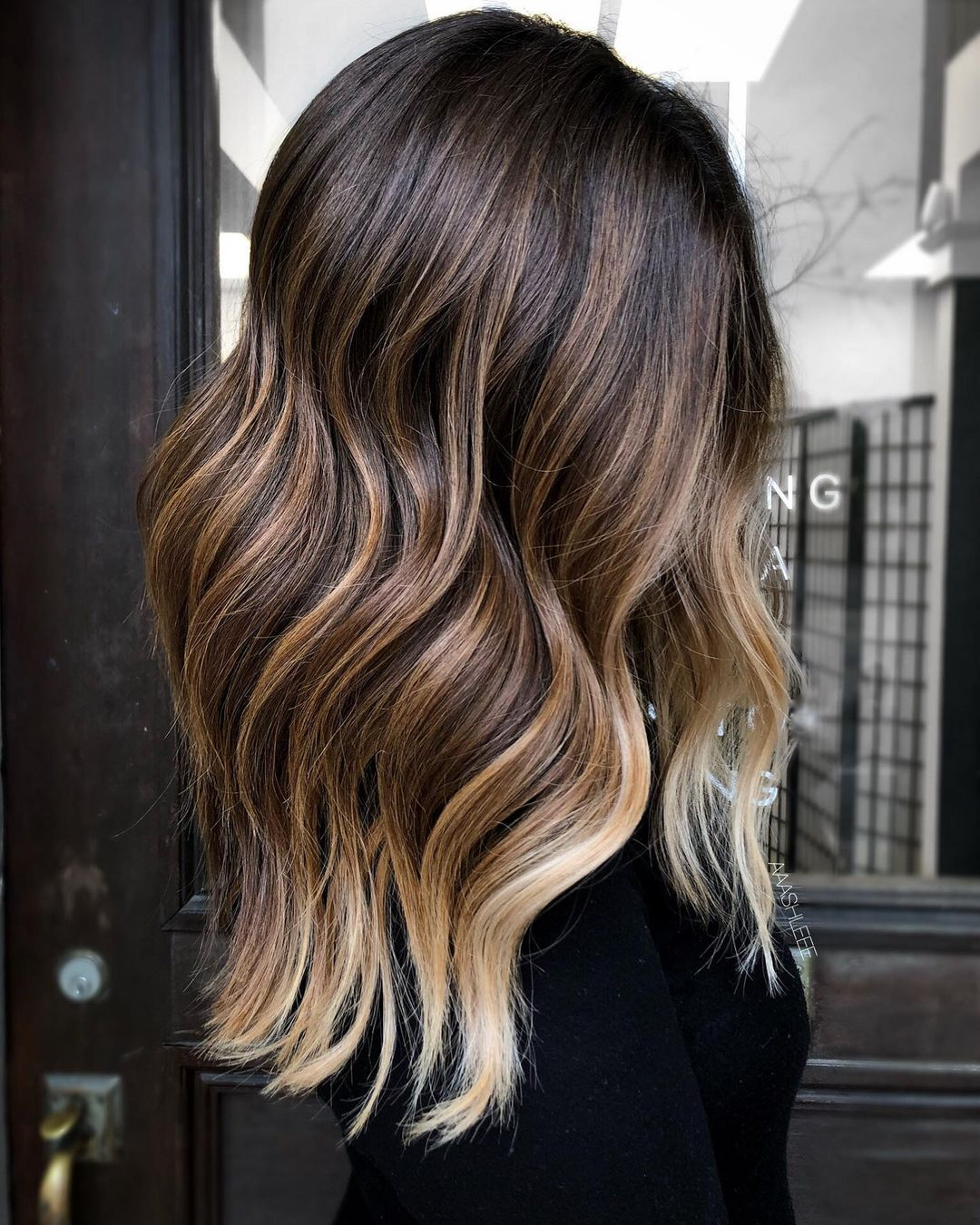 Chocolate Hair with Caramel and Blonde Highlights