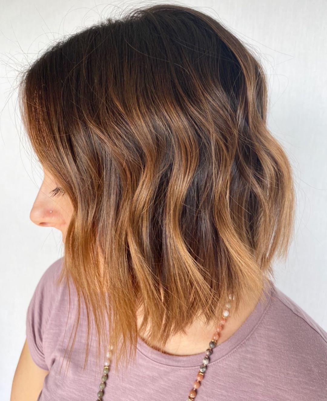 Dark Hair with Strawberry Blonde Balayage