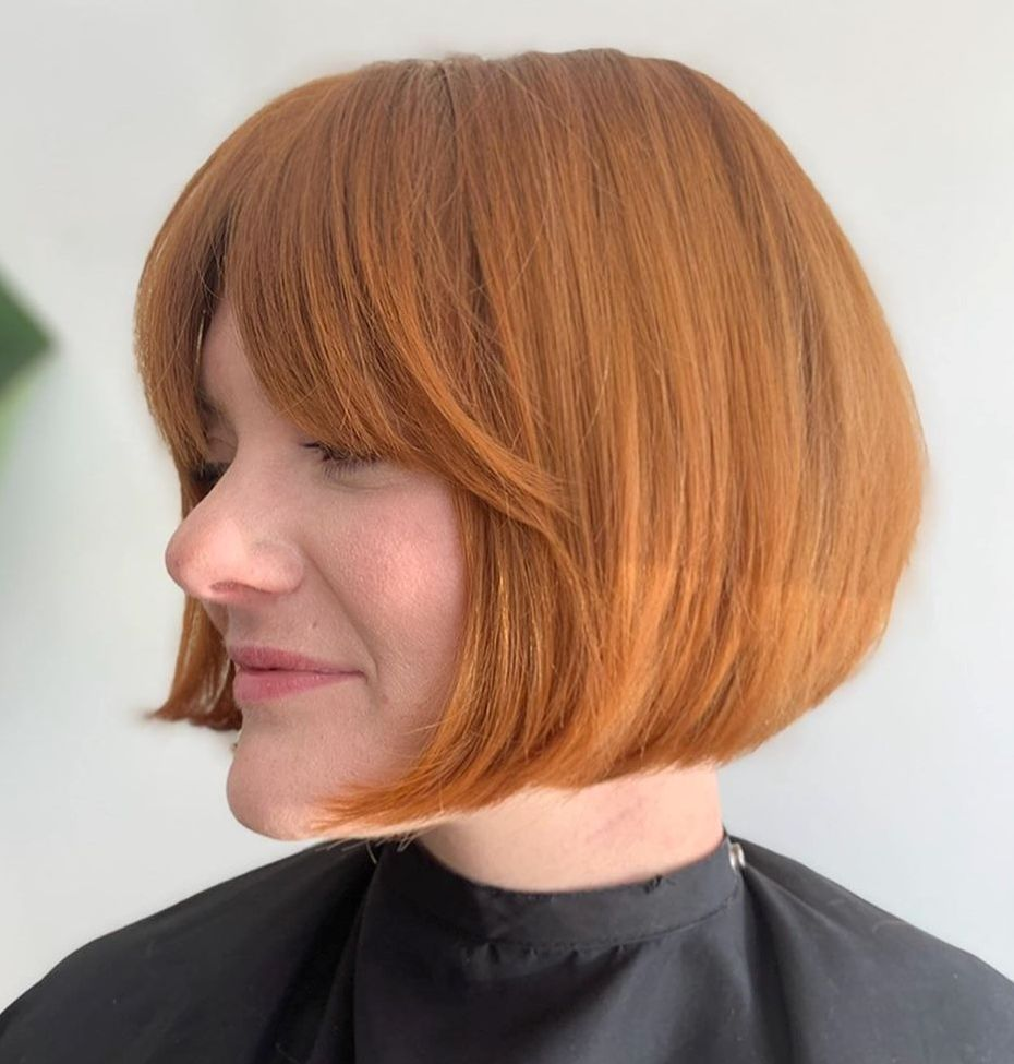 Short Bright Red Bob with Bangs
