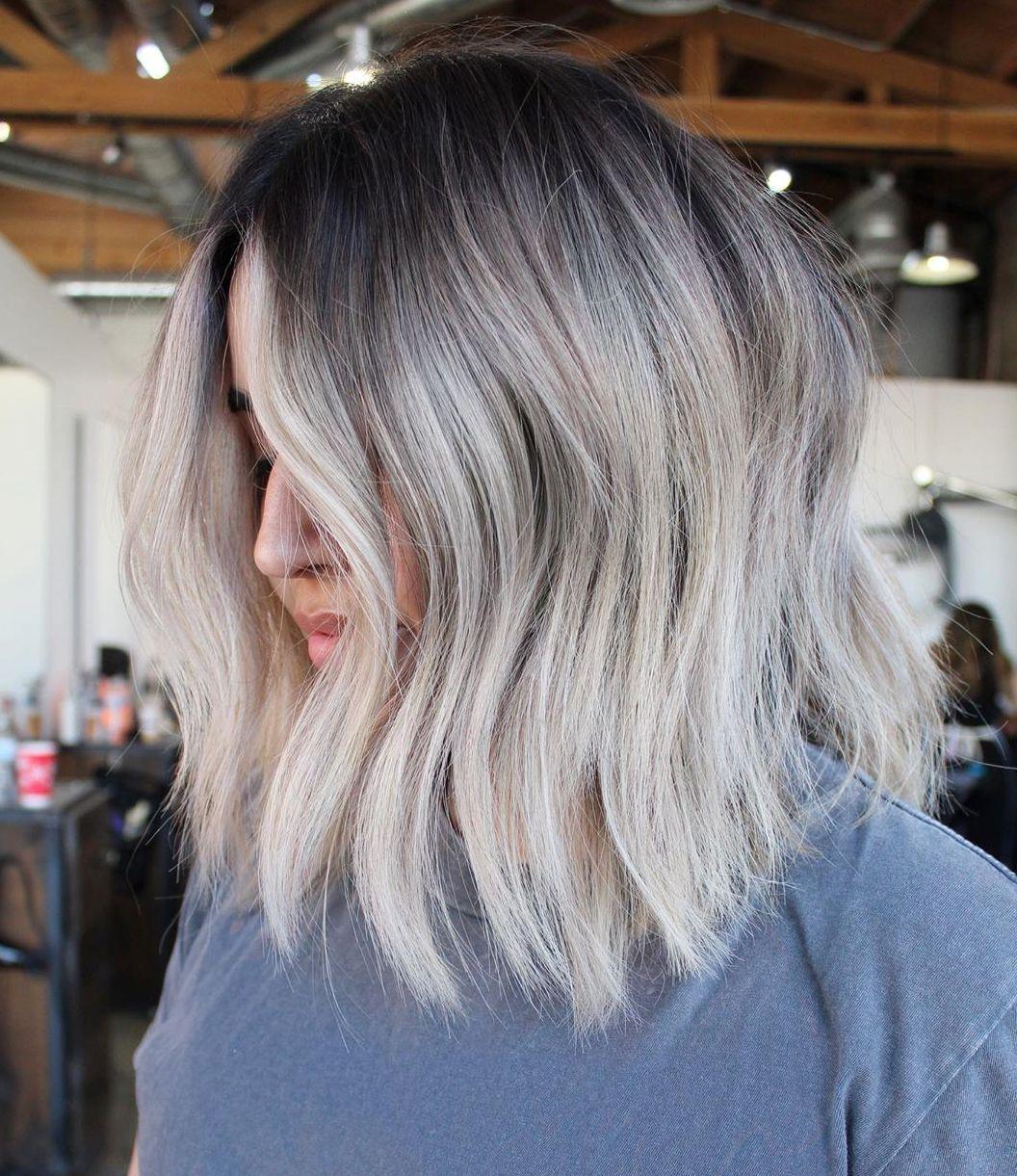 Shoulder-Length White Ash Blonde Balayage Hair