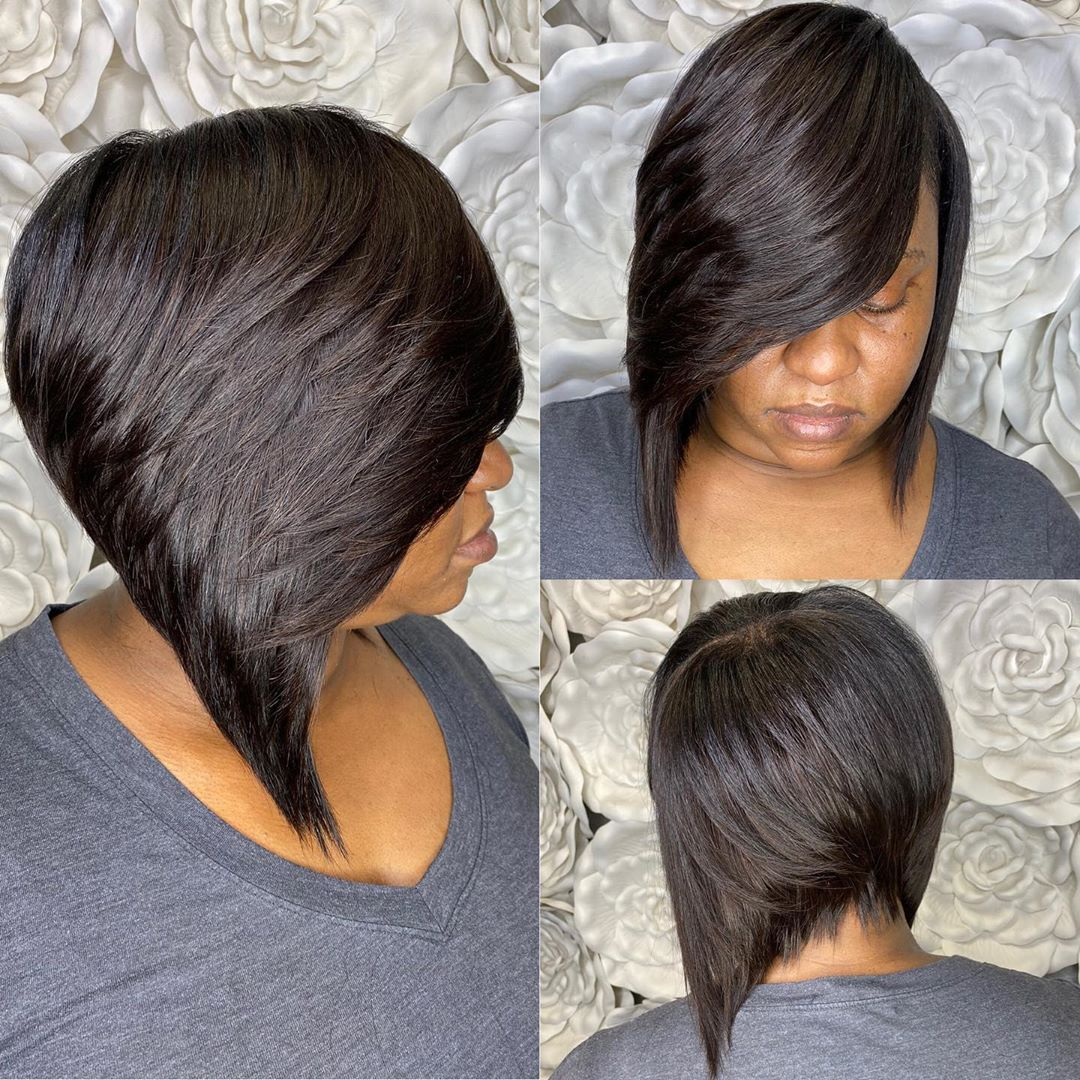 Black Angled Bob with Side Bangs