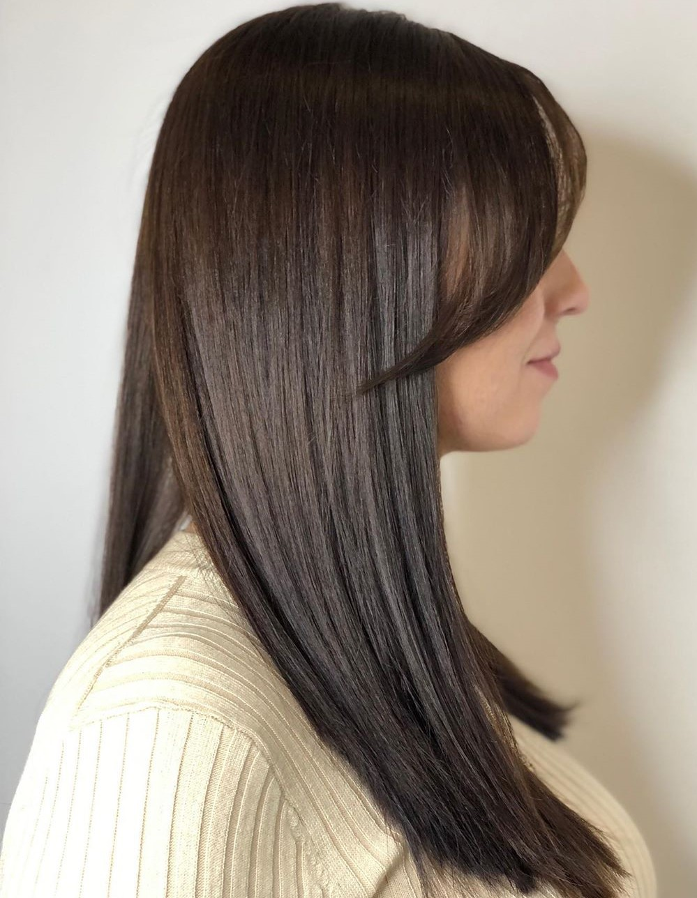 Sleek Long Hair with Side-Swept Bangs
